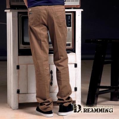 Dreamming 美式簡約繡線釦飾棉質休閒長褲-棕色