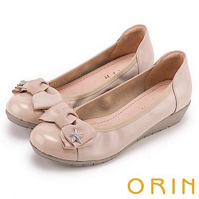 ORIN 夏季甜心專屬 星星鑽飾點綴牛皮娃娃鞋-粉紅