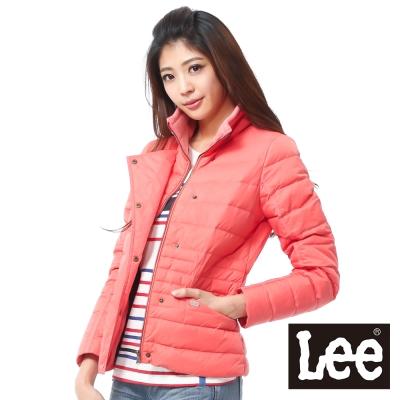 Lee-羽絨外套-修身雙層布防風-女款-橘