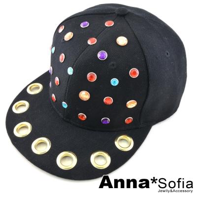 AnnaSofia-韓妞金圈彩鑽-棉質球帽-黑系