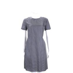 MAX MARA-'S Max Mara 藍x白方絲質短袖洋裝
