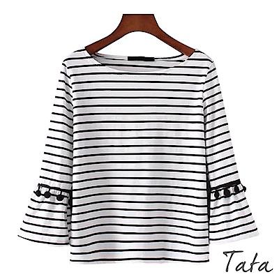 九分毛球喇叭袖條紋上衣 TATA