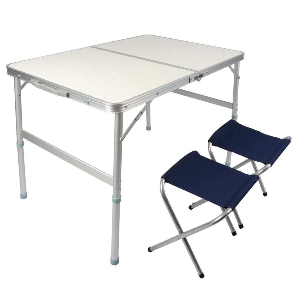 LIFECODE 009 長90cm鋁合金折疊桌 2張帆布椅(提箱型)90x60x70cm
