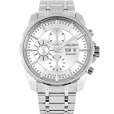 Calvin Klein 經典自動上鍊三眼計時機械腕錶-銀白/46mm