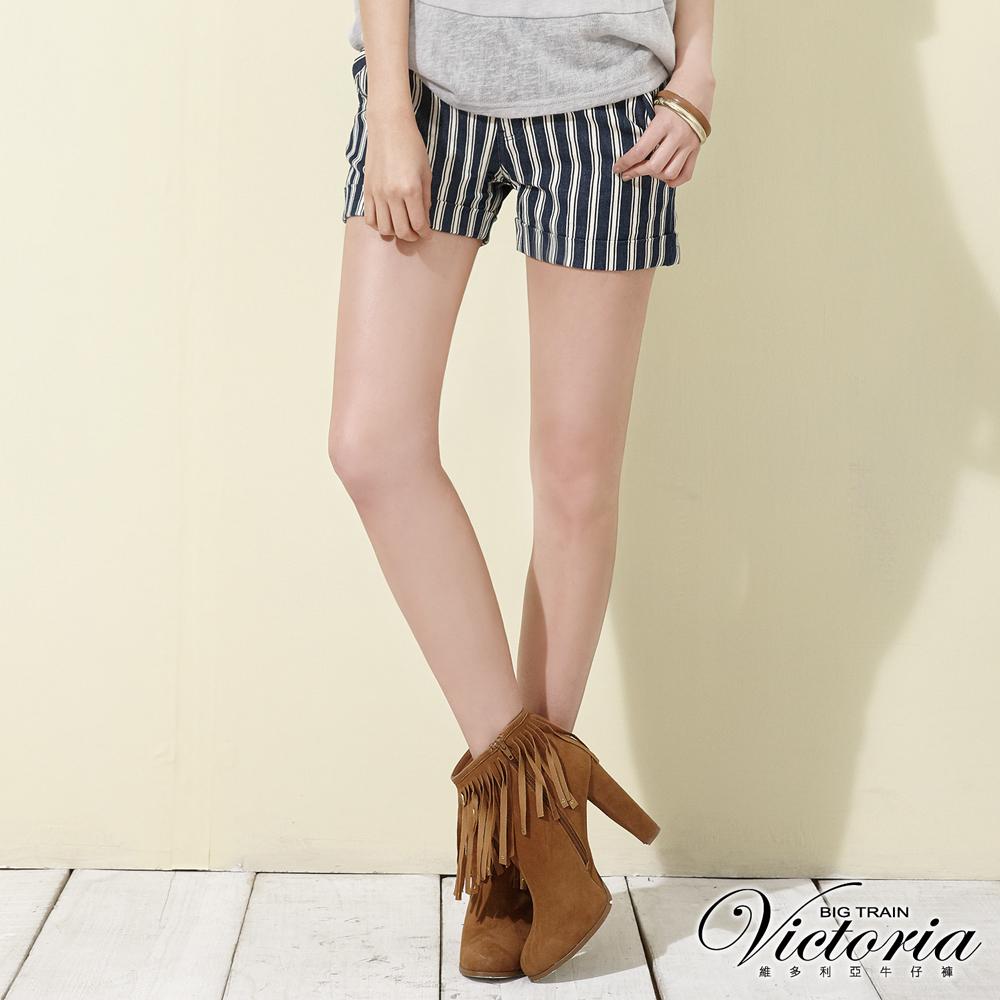 Victoria 中腰條紋休閒短褲-女-深藍