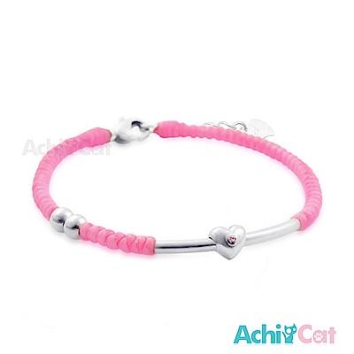 AchiCat 蠶絲蠟繩手鍊 925純銀 幸福心願(粉色)