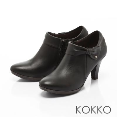 KOKKO-精品手感蝴蝶結羊皮高跟踝靴-黑