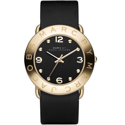 Marc Jacobs 色彩潮流時尚腕錶-黑/金框/36mm