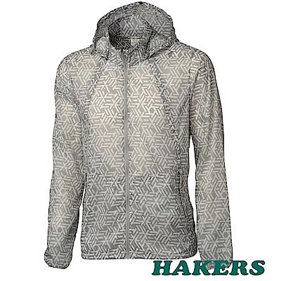 【HAKERS】男-輕透感防潑口袋衣-印-銀河灰