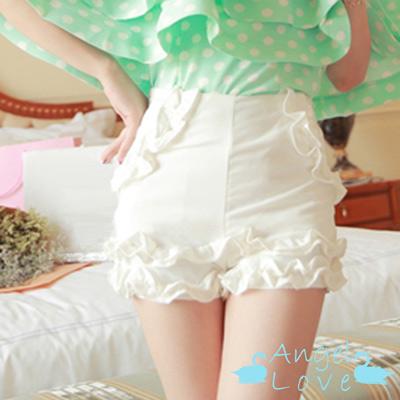 百搭款荷葉邊修身短褲 (白色)-Angel Love