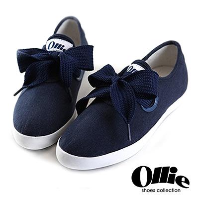 Ollie韓國空運-正韓製超Q寬綁帶蝴蝶結尖頭帆布休閒鞋-深藍