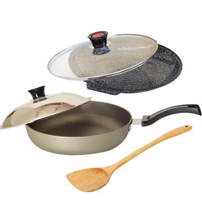 Top Chef 頂尖廚師 鈦合金頂級中華31公分不沾平底鍋+花崗岩不沾煎烤盤