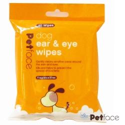 Petface淚痕耳道消毒濕巾、20片裝