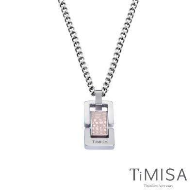 TiMISA《浪漫告白-大 (個性黑/玫瑰金)》純鈦鍺項鍊(M02D)