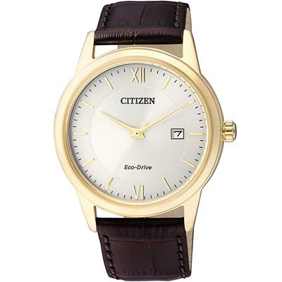 CITIZEN 光動能質感小牛皮時尚腕錶(AW1232-12A)-銀x金框/40mm