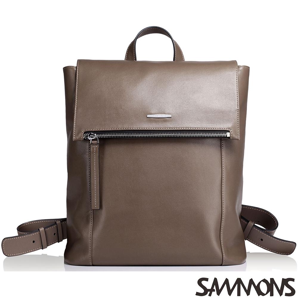 SAMMONS  真皮卡斯柏極簡後背包 棕櫚咖