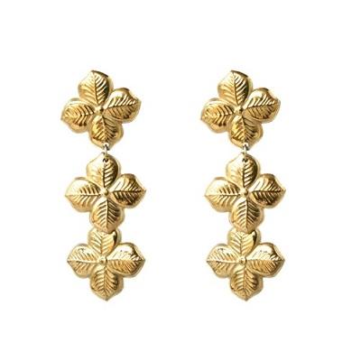 Anna Lou OF LONDON 倫敦品牌 優雅風信子hyacinth花朵金耳環