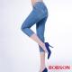BOBSON   女款高腰膠原蛋白彩色七分褲-藍色 product thumbnail 1