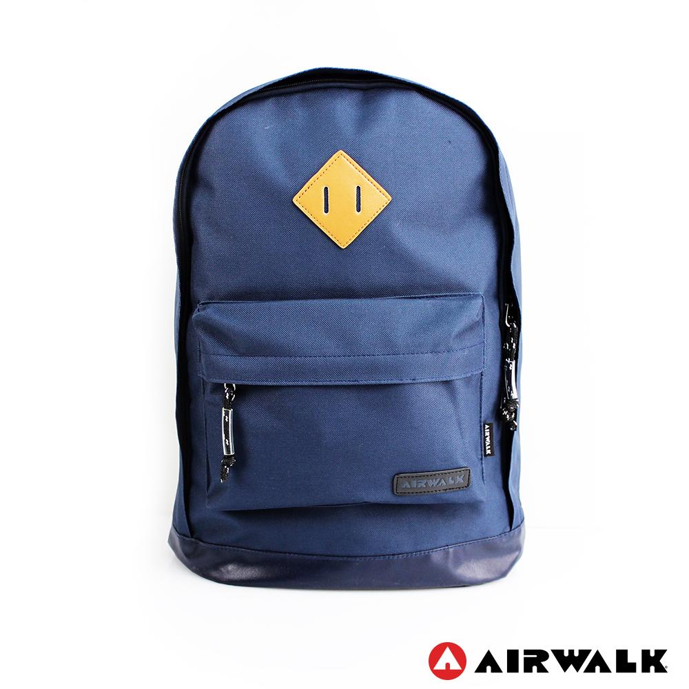 AIRWALK - 古著布紋 簡單豬鼻系筆電後背包 - 小豬深藍