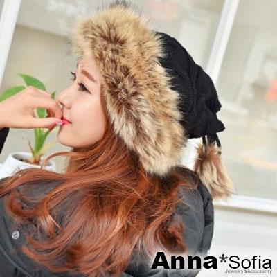 AnnaSofia-狐狸仿毛圈縮綁結-加厚保暖毛帽圍脖-黑系