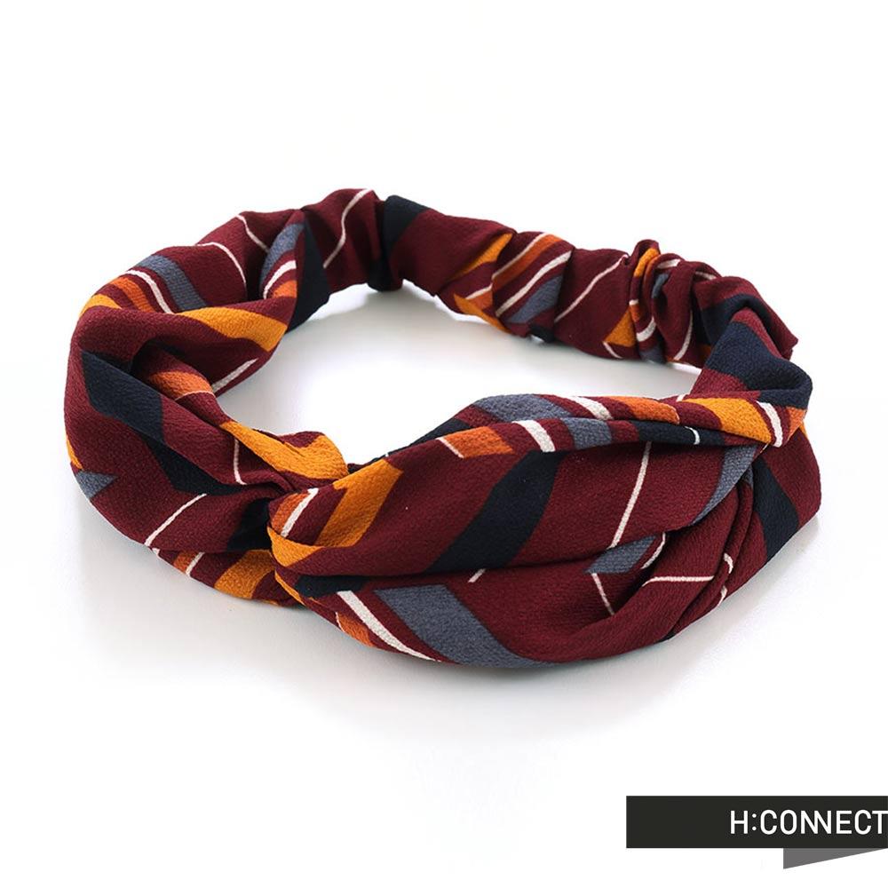 H:CONNECT 韓國品牌- 撞色扭結髮帶 - 紅 (快)