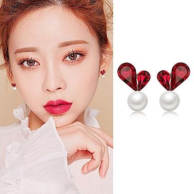 梨花HaNA 韓國925銀針愛心珍珠小秘密耳環