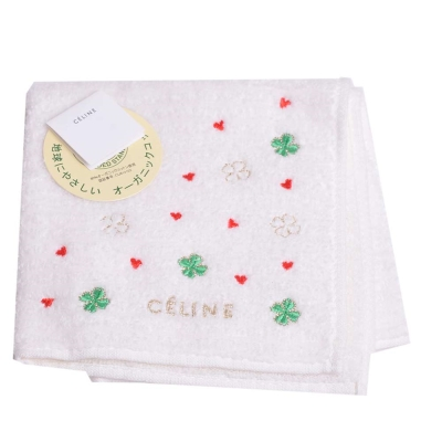 CELINE 經典幸運草刺繡字母LOGO圖騰小方巾(白色系)