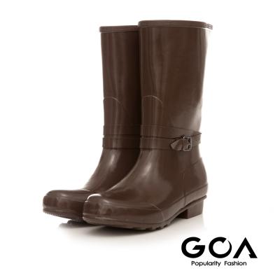 GOA 飾釦造型亮面兩穿長筒雨靴-咖啡色