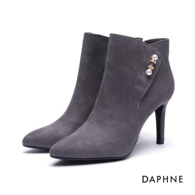 達芙妮DAPHNE 短靴-串珠拼接絨布尖頭細高跟踝靴-灰