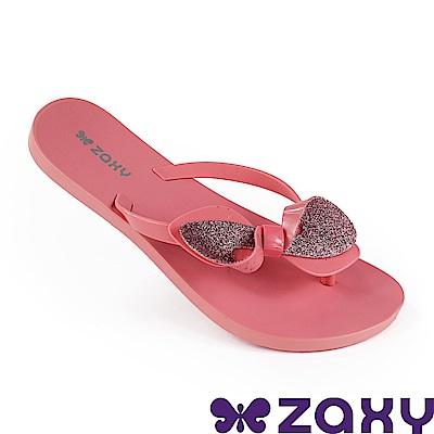 Zaxy 巴西 女 清新蝴蝶夾腳拖鞋-粉紅色/金蔥粉