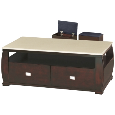品家居 金牛4.3尺胡桃色石面大茶几(含椅凳2入)-134x70x51.5cm-免組