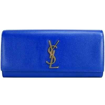 YSL Saint Laurent MONOGRAMME 寶藍亮面荔紋手拿包(展示品)