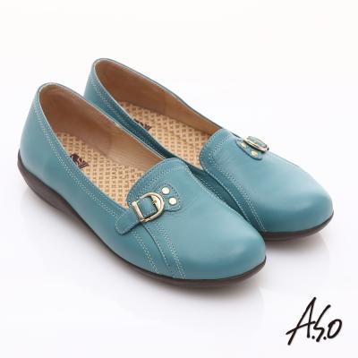 A.S.O 舒適通勤 全真皮金屬飾扣奈米休閒鞋 淺藍