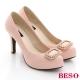 BESO亮眼奢華 緞面立體水鑽高跟鞋 粉