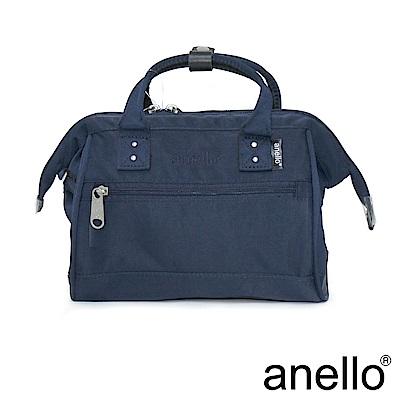 日本正版anello 2WAY厚實絲綾斜紋手提肩背包〈深藍色NV〉