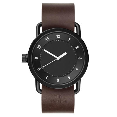 TID Watches No.1 Black   黑底x核桃木色真皮腕錶-40mm