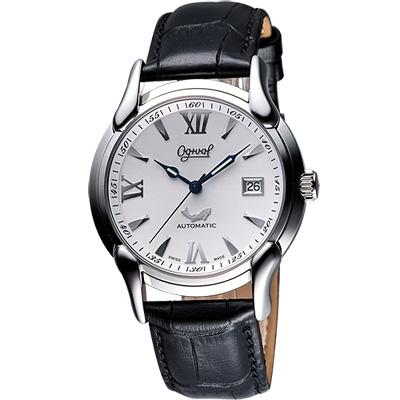 Ogival 愛其華 旗艦復古機械腕錶-銀/40mm