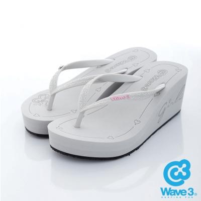 WAVE 3 【女】台灣製LOGO飾扣厚底人字夾腳拖鞋~淺灰