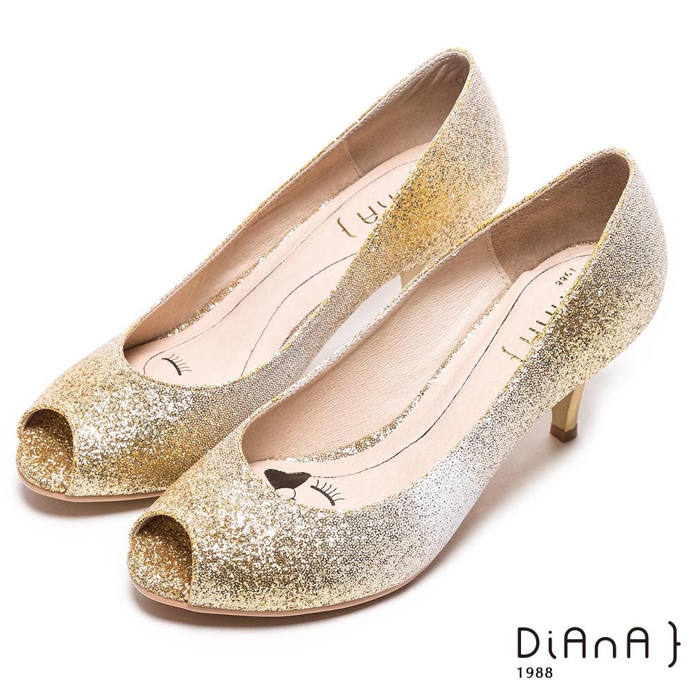 DIANA 漫步雲端LADY款--奧斯卡光芒漸層魚口高跟鞋-星砂金