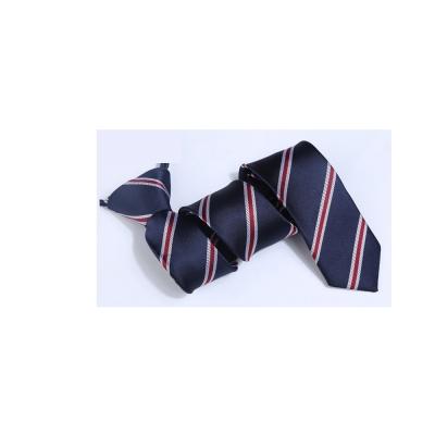 拉福 領帶窄版領帶6cm拉鍊領帶(藍紅紋)