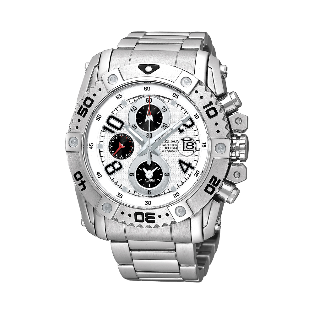 ALBA 天行者三環計時運動腕錶(AF3E73X)-白/44mm