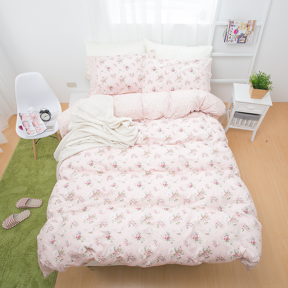 鴻宇HongYew 100%精梳棉 春漾庭園-粉 雙人加大四件式薄被套床包組
