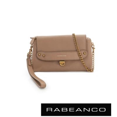 RABEANCO 迷時尚牛皮系列多卡層拉鍊手拎包長夾 深駝