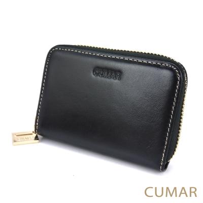 CUMAR-油蠟牛皮卡片零錢包-黑色