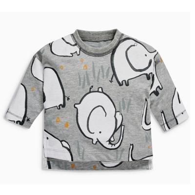 歐美風 男童 純棉長袖T恤-大象