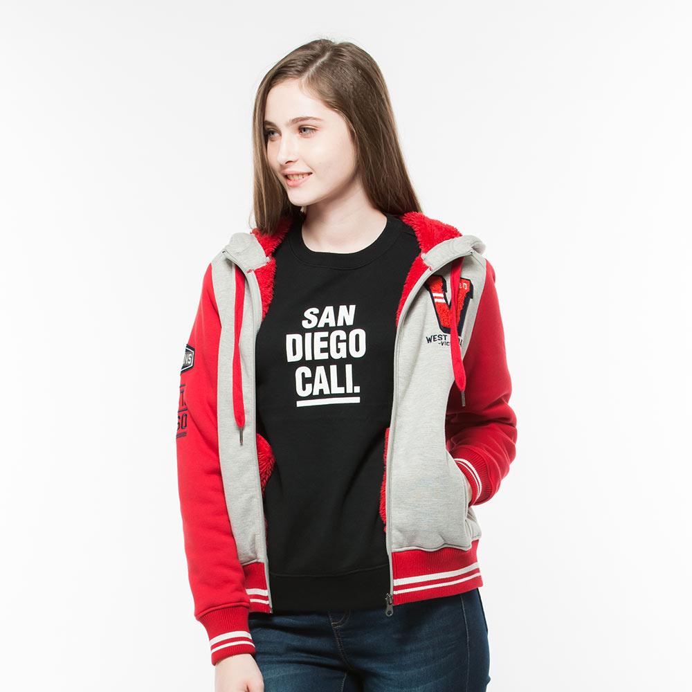 Hang Ten女裝復古刷毛棒球外套紅灰