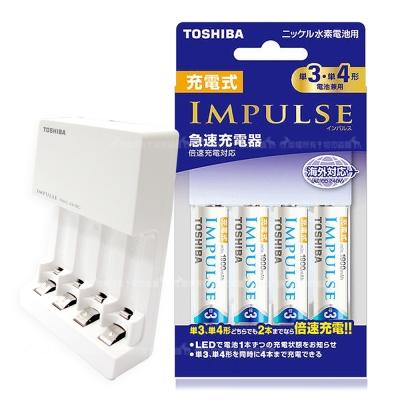 TOSHIBA 智慧型充電電池充電組(TNHC-34HBC充電器+三號4顆)