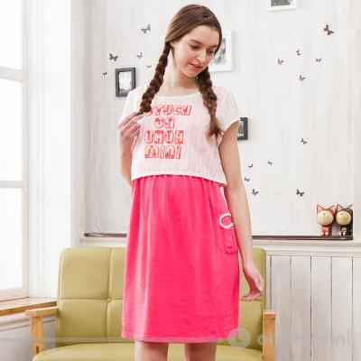 ohoh-mini孕婦裝甜美可人兩件式印花文字套裝