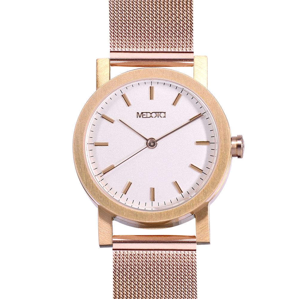 MEDOTA 極簡輕薄手錶- 倒影系列 – 女錶 玫瑰金色/30mm