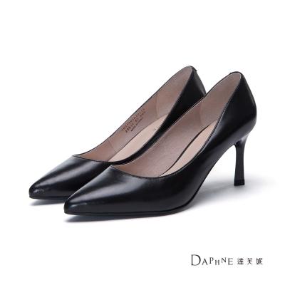 達芙妮DAPHNE 高跟鞋-小羊皮素面尖頭鞋-黑